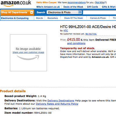HTC Desire HD Amazon