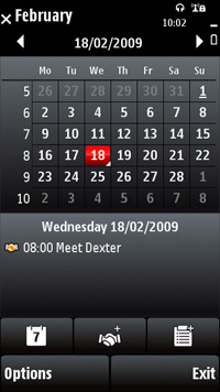 Nokia 5230 kalender screenshot