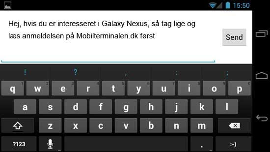 E-mail skrivning på Galaxy Nexus