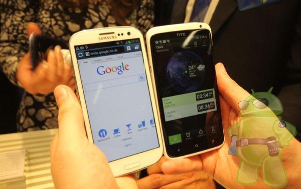 HTC One X og Samsung Galaxy S 3 ved siden af hinanden