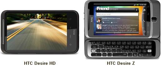 Sammenligning af HTC Desire HD og HTC Desire Z