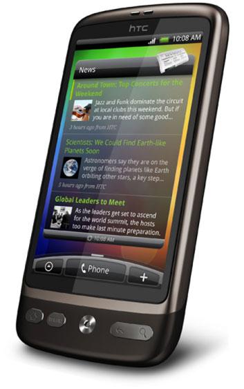 'News' skærm på HTC Desire