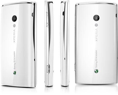 Sony Ericsson X10 i hvid bagfra